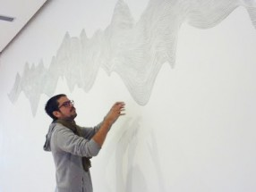 Julián Terán working on the Site Specific mural at MAMBA, Buenos Aires, Argentina - Julián Terán, Cecilia De Torres Ltd.