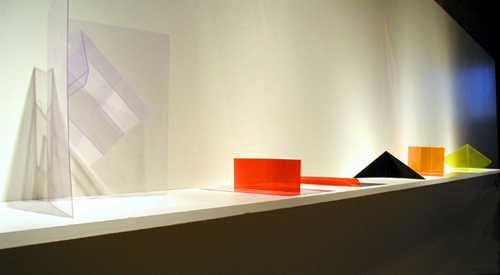 Installation view of Maquettes: Corner, Red Male, Red Female, Triangle, Cube, Circle - Marta Chilindron, Cecilia De Torres Ltd.