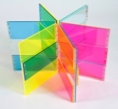 Six Rectangles, Fluorescent Yellow, Fluorescent Pink, Blue, 30-30 - Marta Chilindron, Cecilia De Torres Ltd.