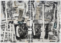 Catalina Chervin, Untitled V, Street Art Series, 2018-2019, Mixed Media, Paper mounted on canvas, diptych, 200 x 300 cm.